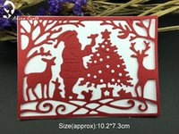 Wholesale Christmas Card Templates - METAL CUTTING DIES cut Father Christmas Santa Claus tree deer Scrapbook card album PAPER CRAFT embossing stencils template dies