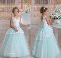 Wholesale Modern Christening Dresses - 2017 Modern Tulle Lace Flower Girl Dresses Princess A Line Toddler Sleveless Lace-up Back Kids Pageant Formal Holy First Communion Gowns