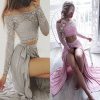 Wholesale two piece lace top prom dress - 2017 Sexy Silver Two-Pieces Lace Top Prom Dresses Off The Shoulder A Line Chiffon Illusion Long Sleeve Split Side Cheap Party Gowns BA4873