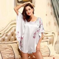 Wholesale Plus Silk Chemise - Wholesale- Summer Plus Size Female Home Robe Sleepwear Satin Nightgown Sleepshirts Women Chemise Nighties Nightwear Faux Silk SY087#10