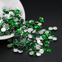 Wholesale Emerald Nail Art - Emerald Resin Flatback Rhinestone, Flat Back Resin Beads All Size For Nail Art 3mm,4mm,5mm,6mm