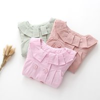 Wholesale Double Breasted Jacket Baby - Everweekend Kids Ruffles Double-breasted Jacket Coat Candy Color Autumn Winter Baby Clothing Sweet Fashion Children Clothes