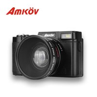Wholesale Tft Wide - Wholesale-AMKOV CDR2 Digital Camera Video Camcorder with 3 inch TFT Screen with UV Filter 0.45X Super Wide Angle Lens