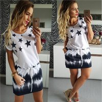 Wholesale Round Neck Short Sleeve Dress - New Fashion Woman Dress 2017 Summer Round Neck Women's Casual Star Printed Gradient Dresses With Sashes