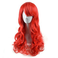 Wholesale Adult Hair Wave - Wigs 80 60cm Adult Chidren Long Wavy Red Synthetic Cosplay Hair Wig