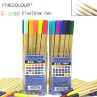 Wholesale Micron Pen Set - Hook Line Pens FINECOLOUR 24 Colors 0.3MM Colored Fineliner Pen Graphic Set For Drawing Manga Water Based Ink Sketch Micron Pen Art Supplies