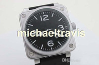 Wholesale Silver Oval Belt Buckles - Luxury Brand New Black Dial Black Rubber Belt Mens Silver Stainless Pointer Watch Men's Sports Wrist mens Watches free shipping christmas gi