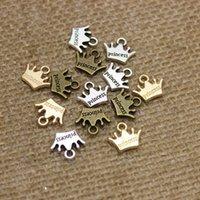 Wholesale European Bead Crown - Wholesale Min Order 200pcs Crown Princess Charms 13*11mm Antique Bronze pendant fit Vintage Tibetan Silver DIY for bracelet necklace