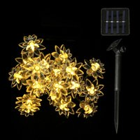 Wholesale Lotus Flowers Indoors - 4.8M 15.7FT 20LEDs Lotus Flower Solar Lamp Garden Waterproof Decoration Fairy Holiday Christmas Solar LED Light