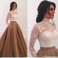 Wholesale taffeta empire ball gown - 2017 Elegant High Neck Long Sleeves Evening Dresses with Pockets Saudi Arabia Lace Appliques Ball Gown Prom Gowns Special Occasion Dress