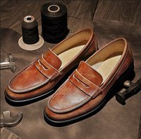 Wholesale Men Peas Shoes - 2017 New Men Fashion leather Peas A pedal Leisur Genuine Leather Weave shoe Lounger Shallow mouth Single shoes Cowhide Business Retro Shoes