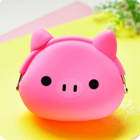 Wholesale Silicone Duck - Wholesale- Cute mini Coin Purse Cartoon change wallet purse Owl Duck Pig Cat etc Animals Pattern Girls Silicone small mini Coin Bag