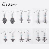 Wholesale Wholesale Hamsa Earrings - New fashion vintage hamsa hand & cross & anchor stud earrings for women european jewelry Eiffel tower & starfish charm dangle earrings gift