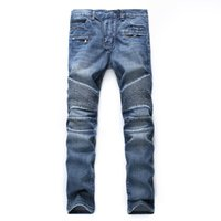 Wholesale Taper Pants Man - Upreface Motocross Distressed Destroyed Pleated Slim Straight fit Ripped Biker Tapered Leg Jeans Skinny Stretched Pants