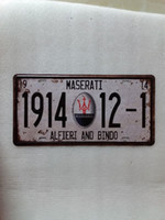 Wholesale car paint numbers resale online - MASERATI ALFIERI BINDO vintage Metal Plaque Car Number Retro Licence Plate Tin Sign Bar Pub Home Cafe Wall Decor Retro Metal Art Poster