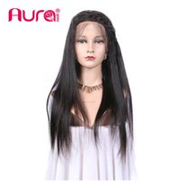 Wholesale Glueless Remy Wigs - AURA Remy Hair Pre Plucked Brazilian Silky Straight Glueless Human Hair Full Lace Wig With Baby Hair For Black Women