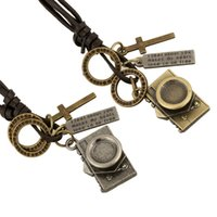 Wholesale Punk Camera - Wholesale Fashion Jewelry Camera Alloy Necklace Men's Personality Leather Rope Clavicle Necklace Casual Vintage Punk Necklace N0051