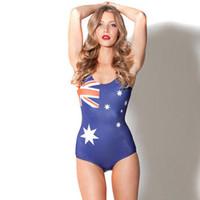 флаг плавать оптовых-Австралия флаг бикини one piece эластичные купальники Sexy swim wear Водные виды спорта купальник женщина купальник