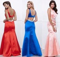 Wholesale Red Satin Ruffle Trim - sexy chic open back long prom dresses 2017 high neckline beaded trim waistline floor length mermaid skirt special ocassion dresses