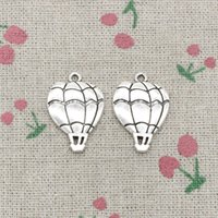 Wholesale Wholesale Hot Air Balloon Plates - 55pcs Charms hot air balloon 25*17mm Antique Silver Pendant Zinc Alloy Jewelry DIY Hand Made Bracelet Necklace Fitting
