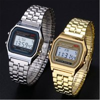 Wholesale Wrist Watch Digital Thin - Luxury F-91W Digital Watches Ultra Thin LED Wrist Watches Stainless Steel F91W Led Watch Men Women Unisex Gift Watches