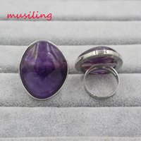 Wholesale Quartz Wedding Ring - musiling Jewelry Wedding Ring Natural Stone Crystal Rings Charms Amethyst Rose Quartz etc Adjustable Accessories Silver Plated Jewelry