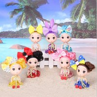 Wholesale 12cm Baby Dolls - Cute 12cm confused doll wedding mini dolls vinyl toys baby doll creative children's toys lots of hair accessories