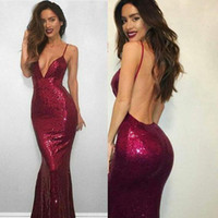 Wholesale Pageant Dresses Size 16 Cheap - 2017 Burgundy Mermaid Sequined Prom Dresses Deep V-neck Straps Sexy Backless Formal Party Gowns Cheap Vestido De Soiree Pageant Wear