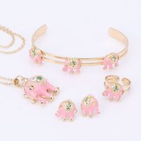 Wholesale Gold Crystal Elephant Jewelry - Baby Cute Elephant Necklace Kid Fashion Jewelry set Girls gold Color Crystal Enamel children jewelry set For Birthday Party