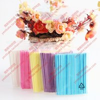 Wholesale wholesale cake pop sticks - 100Pcs Solid Core Paper Lollipop Sticks 100mm*3.5mm Stick Lolly for Fondant Candy Chocolate Cake Pop Cupcakes Making Mould White