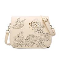 Wholesale Borse Donna - Wholesale- Hollow out flower print women's bag designers messenger bags for woman fashion PU leather messenger bags 4 colors borse da donna