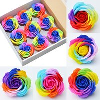 Rainbow color dia 6cm Rose Soaps Flower Packed Wedding Supplies Gifts Event Party Goods Favor Toilet soap Scented bathroom accessories