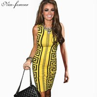 Wholesale Wholesale Aztec Dresses - Wholesale- Nice-forever Casual Fashion sexy women White summer dress Aztec Tribal Rocco Sleeveless Novelty Print bodycon pencil dress 750