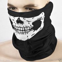 Wholesale Scary Skeleton Masks - Halloween Skull Skeleton Party Masks Black Motorcycle Multi Function Headwear Hat Scarf Neck Scary Sport Face Winter Ski Mask