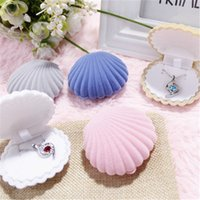 Wholesale Cute Boxes For Jewelry - Cute Candy Color Shell Velvet Gift Jewelry Box For Earrings Necklace Pendant Packaging And Display Wedding 65x55x30MM