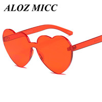 Wholesale birthday sunglasses - ALOZ MICC Brand Designer Sunglasses Women Rimless Peach Heart Shape Glasses Colorful Gradient Decorative Birthday Party Glasses Oculos A356
