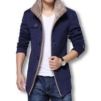 Wholesale Hot Men Trench Coats Slim - Wholesale- Winter Long Wool Coat Men Jackets And Coats Slim Fit Mens Windbreaker High Quality Trench Coat Plus Size 2017 Hot Sale Jacket