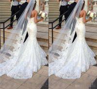 Wholesale White Indian Veil - 2017 Cheap One Layer Bridal Veils Ivory Lace Applique Edged Bridal Accessories Wedding Veil Long Train Wedding Dresses Veil Arabic Indian