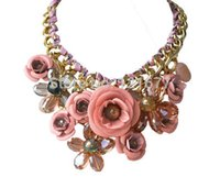 Wholesale Cotton Anniversary Gift - Wholesale- 17 Colors CHOKER NECKLACES Fashion Flower Jewelry Chunky Statement 2015 Multicolor Cotton Rope Collares For Women Accessories