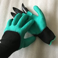 Wholesale 2017 Rubber Polyester Builders Garden Work Genie Latex Gloves with Claws Quick Easy way to Garden Digging Planting