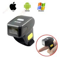 Frete grátis! Handheld Mini Bluetooth Wireless Ring Finger Barcode Reader 1D Barcode Scanner para Android IOS Windows