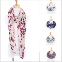 Wholesale Voile Scarves - 2017 New Fashion women fall and winter scarf shawl 180 cm * 90 cm long women scarves shawls voile butterfly printed scarf