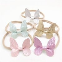 Wholesale Girls Gold Elastic Headband - 15pcs Lot Gold Butterfly Stretch Headband Fluorescent Pink 5 .5cm Girls Elastic Nylon Head Band Green Kid Garden Party Hairbands