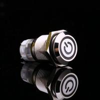 tampas de interruptor 12v venda por atacado-Luz Branca Hot Car Auto de Metal LEVOU Interruptor de Botão de Alimentação Tipo de Travamento On-off 12 V 16mm À Prova D 'Água