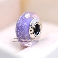 Wholesale Pandora Blue Lights - S925 Sterling Silver Fashion jewelry Sparkling Light purple facaded Murano Glass Beads Fit European DIY pandora Charm Bracelets