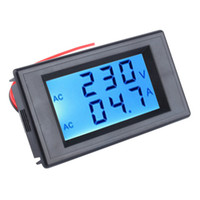 Wholesale Amp Volt Combo Meter - Wholesale-Double-Row Digital LCD Dispay Voltage and Current Table AC 300V 100A Blue Lcd Dual Panel Volt Amp Combo Meter+CT 110v 220v 240v