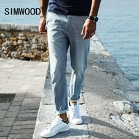 SIMWOOD Neue Frühling Sommer Spray Malerei Striped Jeans Herren Skinny Thin Fashion Slim Fit Denim Hose SJ6080 q170655