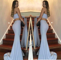 Wholesale arabic long dresses for women - Arabic Two Pieces Mermaid Prom Dresses 2017 One Shoulder Simple Cheap Evening Dress Gowns Dresses for Women
