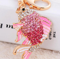 New Arrival Exquisite Enamel Crystal Fish Key Chains Holder Goldfish KeyChains Bag Buckle HandBag Pendant For Car Keyrings 4 couleurs