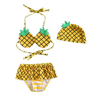 Wholesale Dot Split Swimwear - Children bikini swimsuits cute pineapple swimwear 3pcs sets for girls split swimwear children bathing suits girls spa beachwear 7033